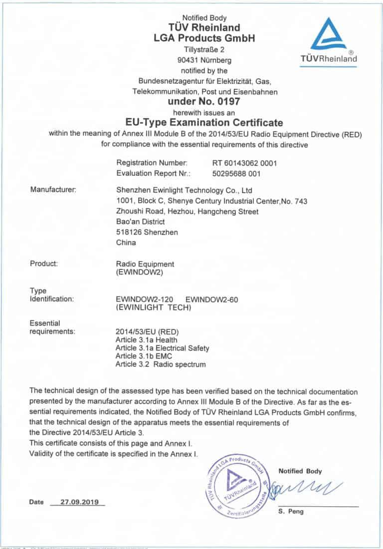 EWindow secures EU-type Examination Certificate from TUV Rheinland LGA Products GmbH, 90431 Numberg.