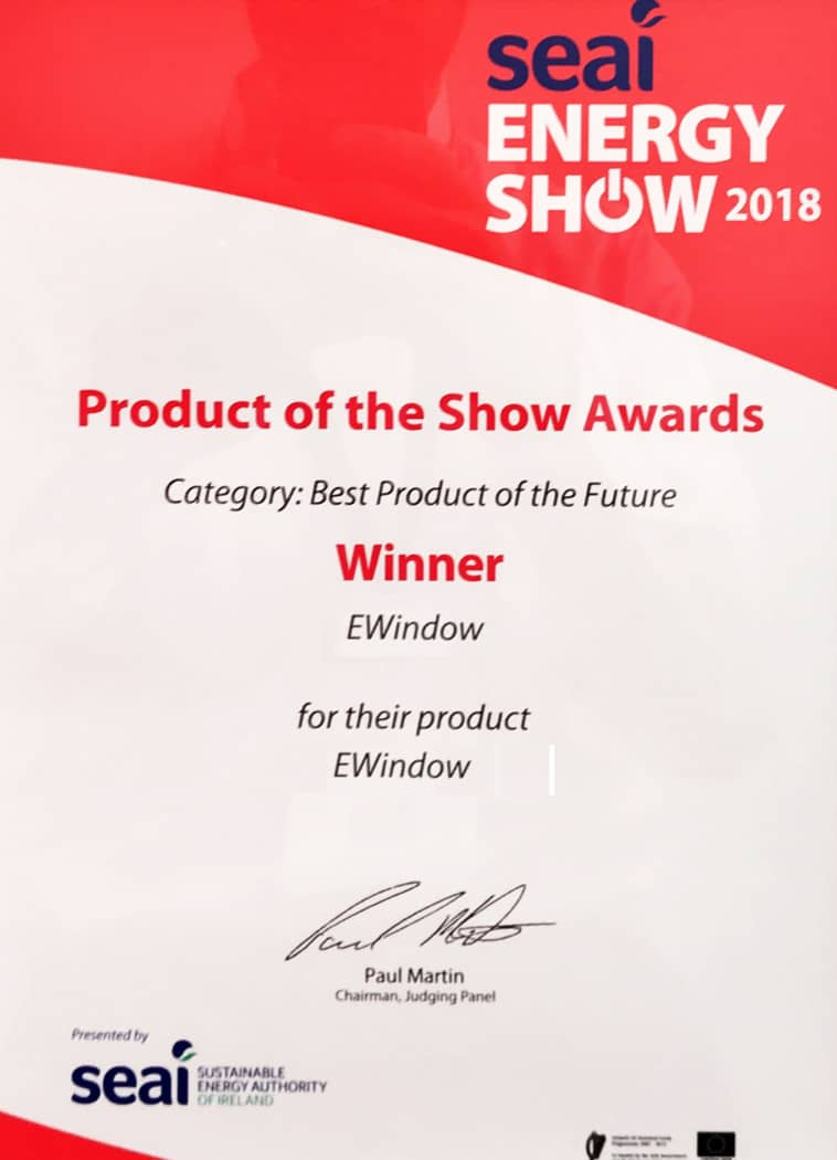 EWindow wins Best Product of the Future, SEAI Energy Show 2018